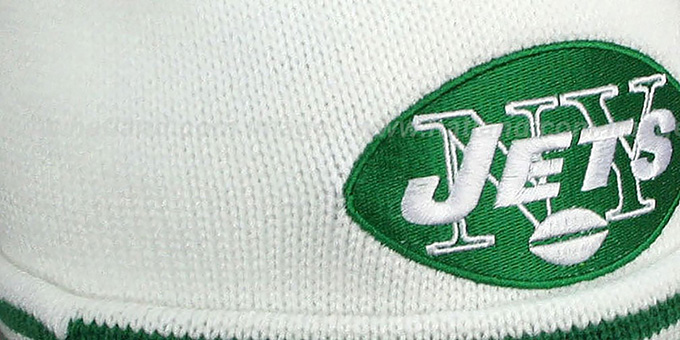 Jets 'XL-LOGO BEANIE' White by Mitchell and Ness