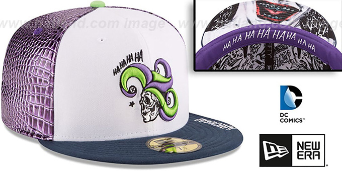Joker 'CHARACTER FACE' White-Purple-Navy Fitted Hat by New Era