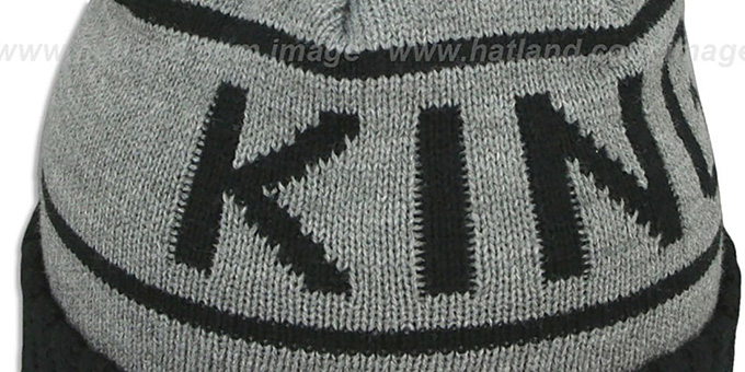 Kings 'HIGH-5 CIRCLE BEANIE' Grey-Black by Mitchell and Ness