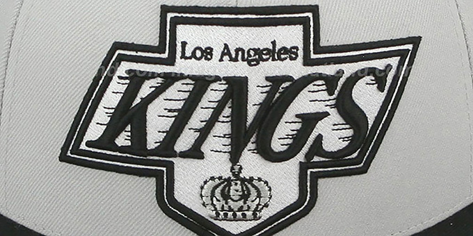 Kings 'MONOCHROME XL-LOGO' Grey-Black Fitted Hat by Mitchell & Ness