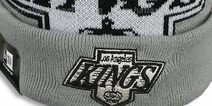 Kings 'NHL-BIGGIE' Grey Knit Beanie Hat by New Era