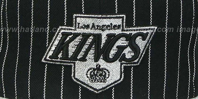 Kings 'PINSTRIPE 2T TEAM-BASIC SNAPBACK' Black-Grey Adjustable Hat by Mitchell & Ness