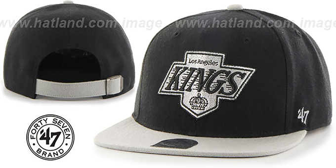 Kings 'SUPER-SHOT STRAPBACK' Black-Grey Hat by Twins 47 Brand