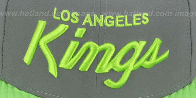 Kings 'TEAM-SCRIPT' Ash Grey-Lime Fitted Hat by New Era