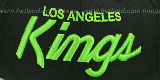 Kings 'TEAM-SCRIPT' Black-Lime Fitted Hat by New Era