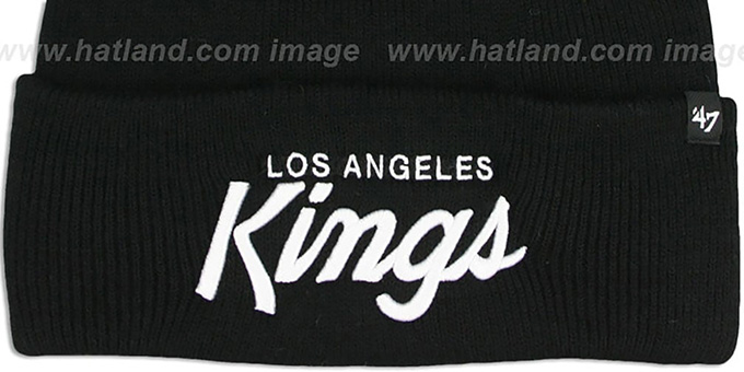 Kings 'TEAM-SCRIPT' Black-White Knit Beanie Hat by Twins 47 Brand