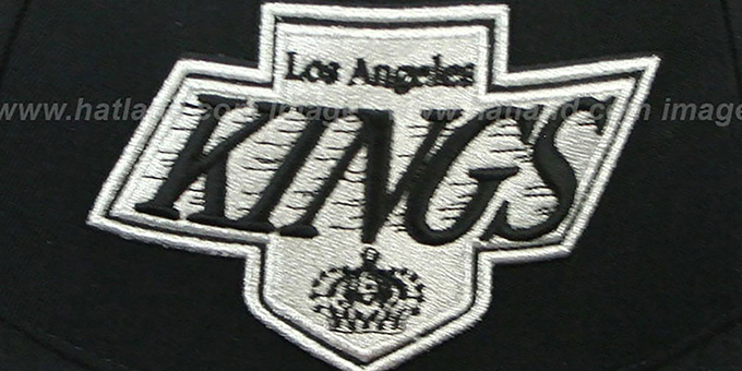 Kings 'XL-LOGO BASIC' Black Fitted Hat by Mitchell & Ness