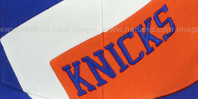 Knicks '1-ON-1 SNAPBACK' Royal-White-Orange Hat by Mitchell & Ness