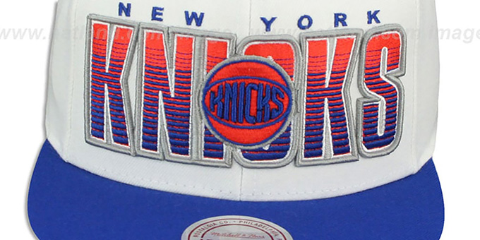 Knicks 'HOMESTAND SNAPBACK' White-Royal Hat by Mitchell & Ness