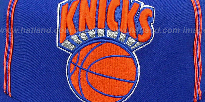 Knicks 'XL-LOGO SOUTACHE SNAPBACK' Royal Adjustable Hat by Mitchell & Ness
