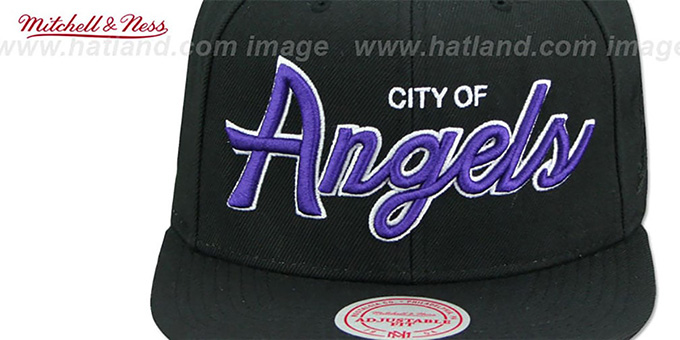 Lakers 'CITY NICKNAME SCRIPT SNAPBACK' Black Hat by Mitchell and Ness