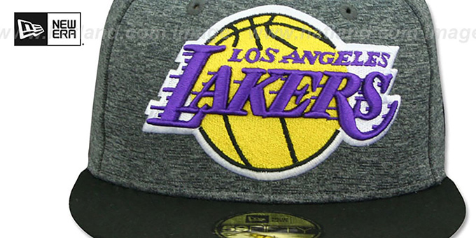 Lakers 'HEATHER-HUGE' Grey-Black Fitted Hat by New Era