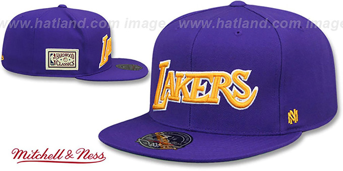Lakers 'HWC SIDE-PATCH' Purple Fitted Hat by Mitchell and Ness