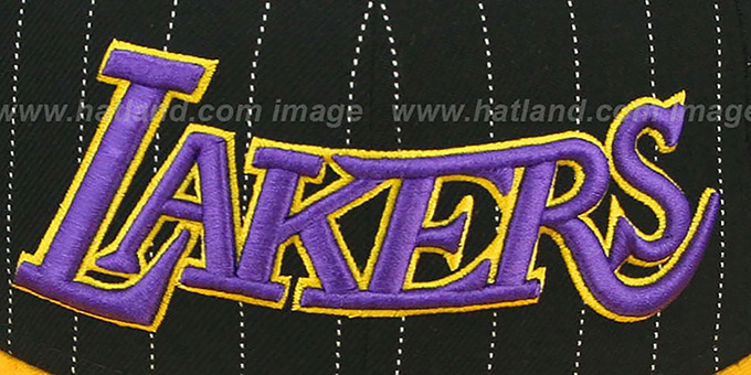 Lakers 'PIN-SCRIPT' Black-Gold Fitted Hat by New Era