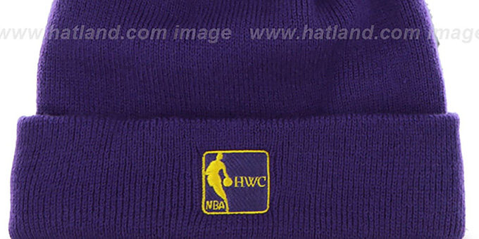 f35542e1be867 ... Lakers  POMPOM CUFF  Purple Knit Beanie Hat by Twins 47 Brand ...
