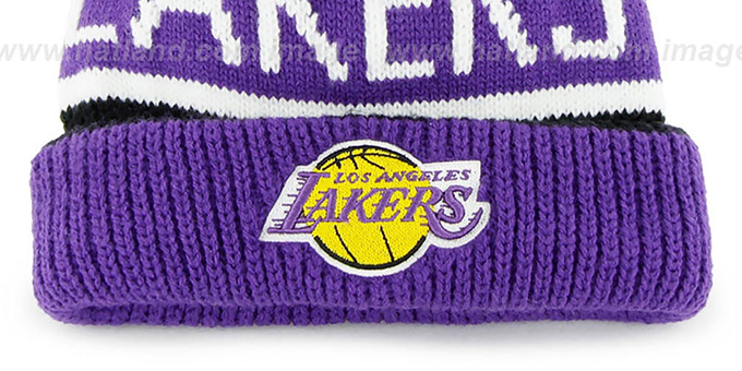 2a920fc909e ... Lakers  THE-CALGARY  Purple-Black Knit Beanie Hat by Twins 47 Brand ...