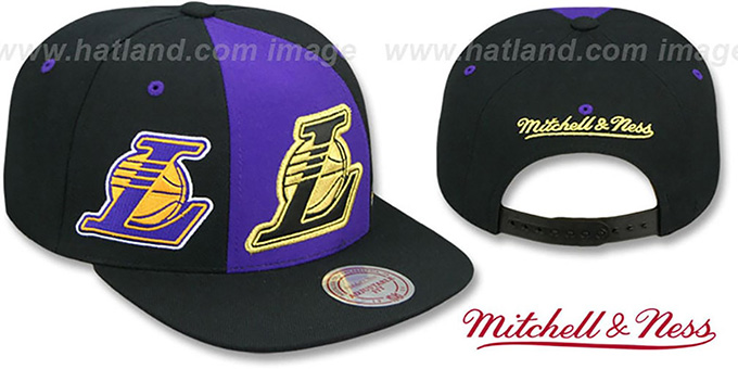 Lakers 'TRIPLE STACK SNAPBACK' Purple-Black Hat by Mitchell and Ness