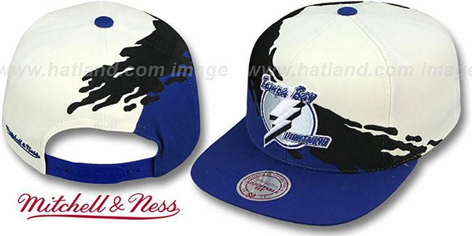 Lightning 'PAINTBRUSH SNAPBACK' White-Black-Royal Hat by Mitchell & Ness