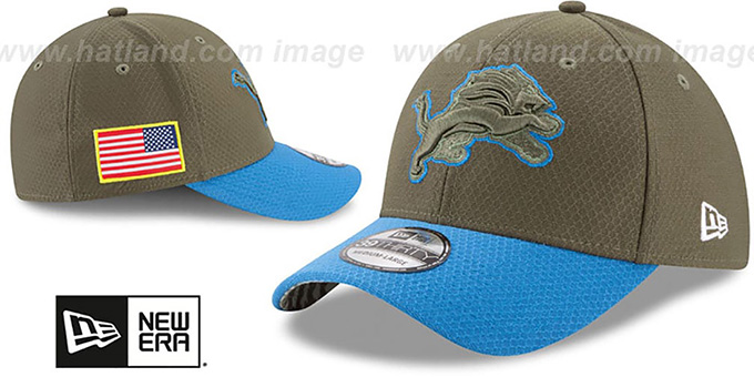 Lions '2017 SALUTE-TO-SERVICE FLEX' Green-Blue Hat by New Era