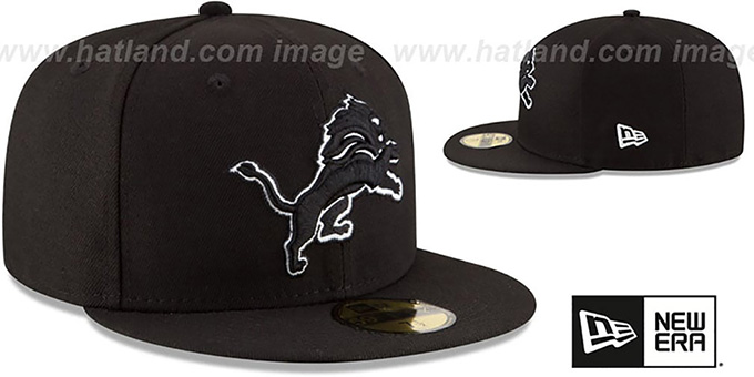 Lions 'NFL TEAM-BASIC' Black-White Fitted Hat by New Era