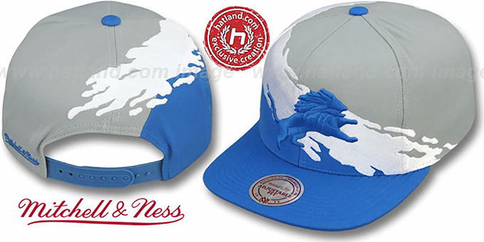 Lions 'PAINTBRUSH SNAPBACK' Grey-White-Blue Hat by Mitchell & Ness