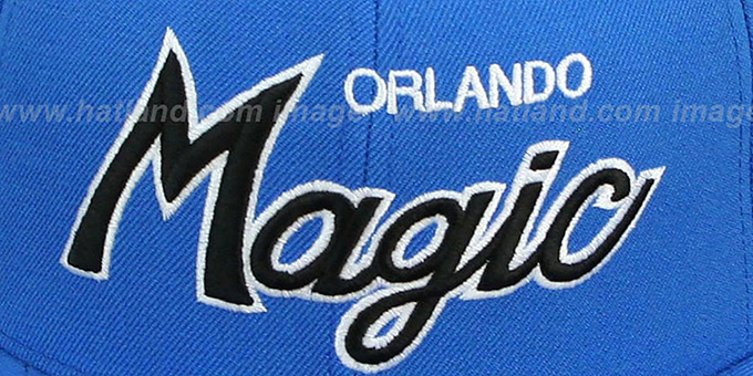 Magic 'CLASSIC-SCRIPT' Blue Fitted Hat by Mitchell & Ness