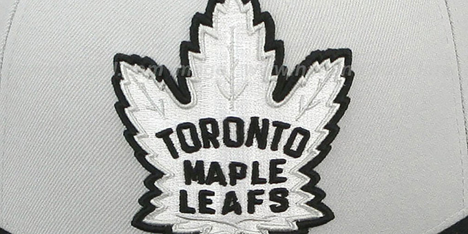 Maple Leafs 'MONOCHROME XL-LOGO' Grey-Black Fitted Hat by Mitchell & Ness