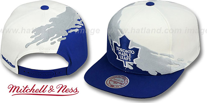 Maple Leafs 'PAINTBRUSH SNAPBACK' White-Grey-Royal Hat by Mitchell & Ness