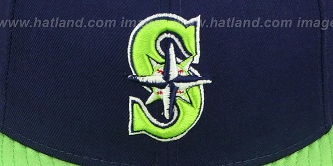 Mariners '2T OPPOSITE-TEAM' Navy-Lime Fitted Hat by New Era