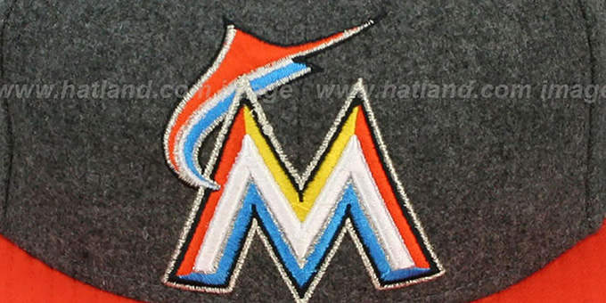 Marlins '2T MELTON-BASIC' Grey-Orange Fitted Hat by New Era