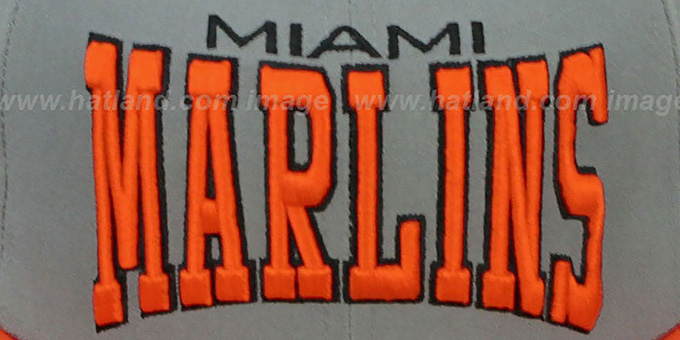 Marlins 'PRO-ARCH' Grey-Orange Fitted Hat by New Era