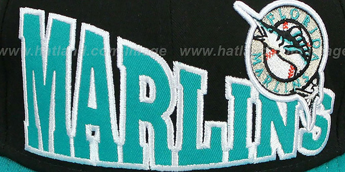 Marlins 'STOKED SNAPBACK' Black-Teal Hat by New Era