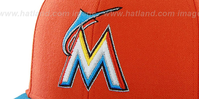 Marlins 'SURE-SHOT SNAPBACK' Orange-Blue Hat by Twins 47 Brand