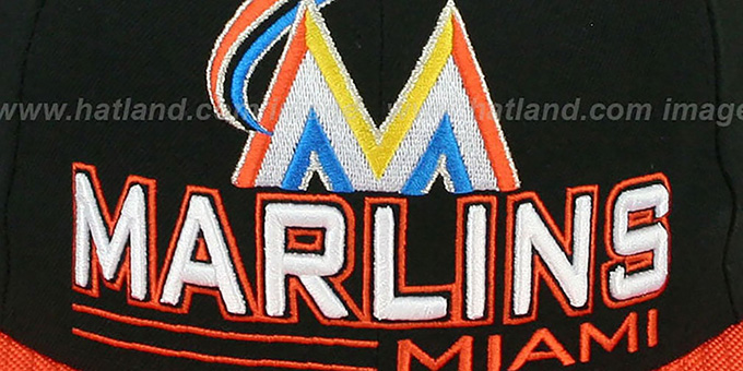 Marlins 'TECH MARK' Black-Orange Fitted Hat by New Era