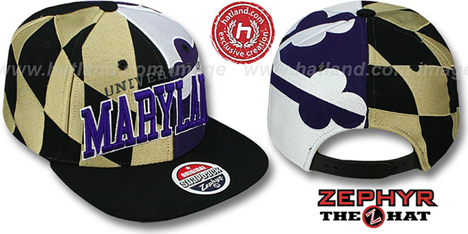 Maryland 'SUPER-FLAG SNAPBACK' Black-Gold-Purple Hat by Zephyr
