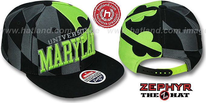 Maryland 'SUPER-FLAG SNAPBACK' Black-Grey-Lime Hat by Zephyr