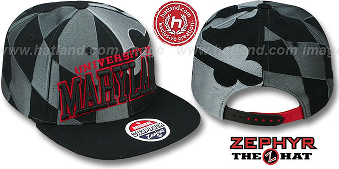 Maryland 'SUPER-FLAG SNAPBACK' Black-Grey-Red Hat by Zephyr