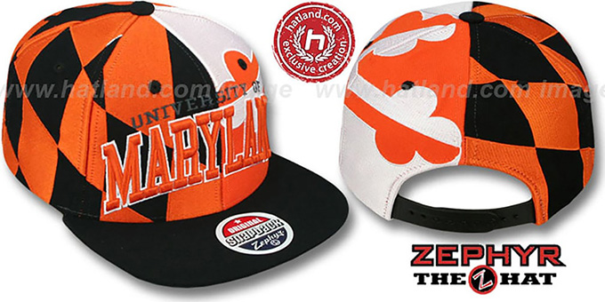 Maryland 'SUPER-FLAG SNAPBACK' Black-Orange-White Hat by Zephyr