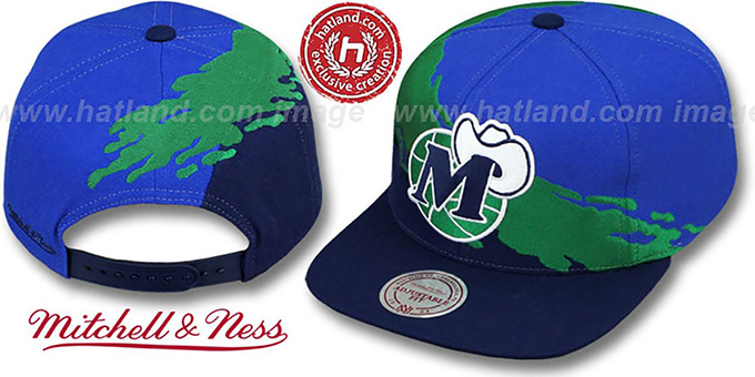 Mavericks 'PAINTBRUSH SNAPBACK' Royal-Green-Navy Hat by Mitchell & Ness