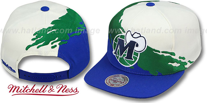 Mavericks 'PAINTBRUSH SNAPBACK' White-Green-Royal Hat by Mitchell and Ness