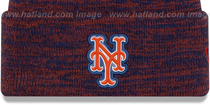 Mets 'BEVEL' Royal-Orange Knit Beanie Hat by New Era