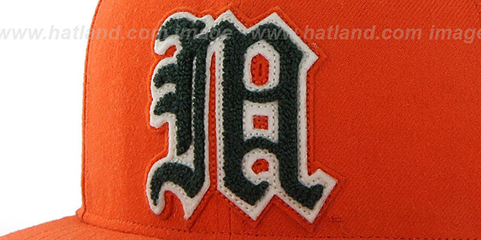 Miami 'NCAA CATERPILLAR' Orange Fitted Hat by 47 Brand