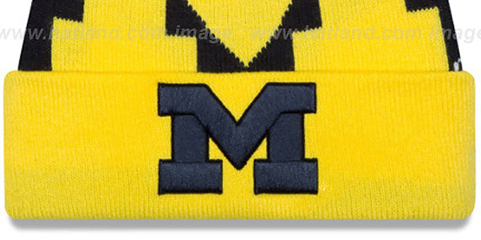 Michigan 'LOGO WHIZ' Navy-Gold Knit Beanie Hat by New Era