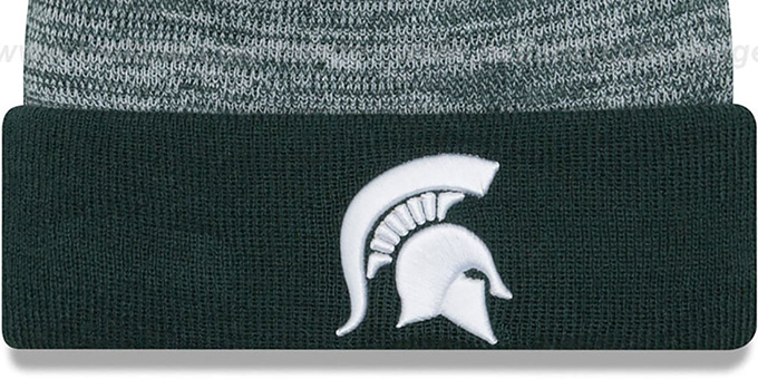 Michigan State 'TEAM-RAPID' Green-White Knit Beanie Hat by New Era