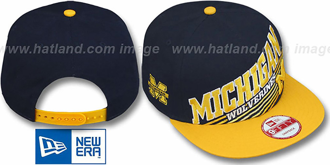 Michigan 'STILL ANGLIN SNAPBACK' Navy-Gold Hat by New Era