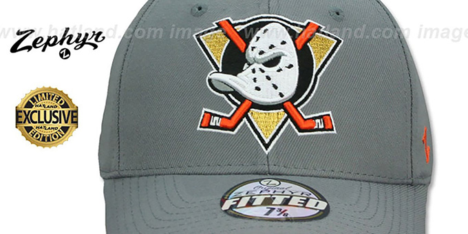 Mighty Ducks 'SHOOTOUT' Grey Fitted Hat by Zephyr