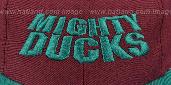 18a2f9f87b7 ... Mighty Ducks  WORDMARK SNAPBACK  Plum-Teal Hat by Mitchell   Ness ...