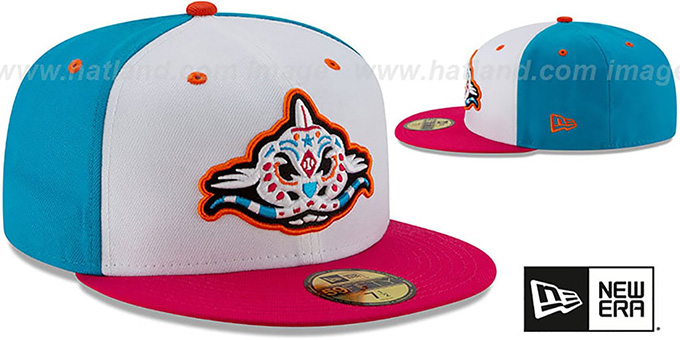 Mudcats 'COPA' White-Blue-Pink Fitted Hat by New Era