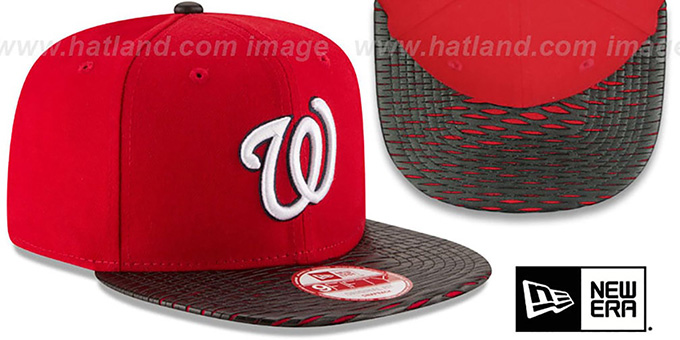 Nationals 'LEATHER-RIP SNAPBACK' Red-Black Hat by New Era