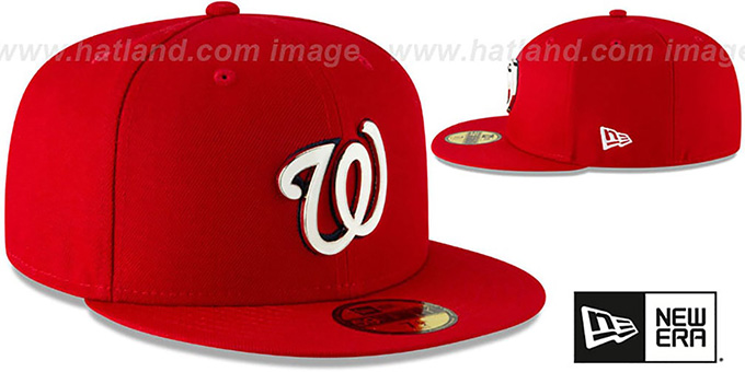 Nationals 'METAL-N-THREAD' Red Fitted Hat by New Era